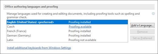 Office redigeringssprog og korrektur