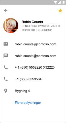 Profilkort med en gul stjerne for at angive, at denne kontakt er en favorit