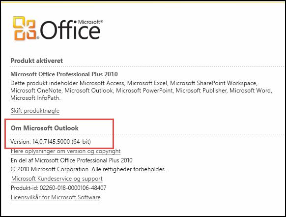 Skærmbillede af den side, hvor du kan kontrollere Outlook 2010-version, under Om Microsoft Outlook