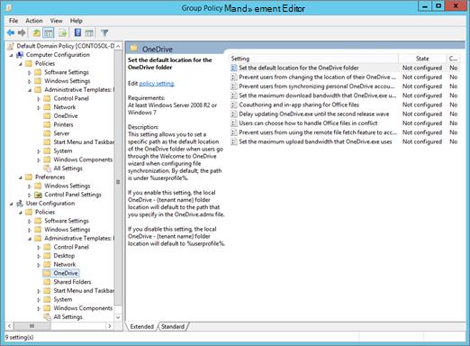 OneDrive-indstillinger i Editor til administration