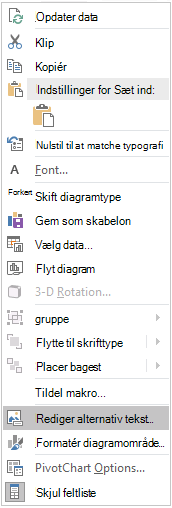 Excel Win32 Edit alternativ tekst menu til pivotdiagrammer