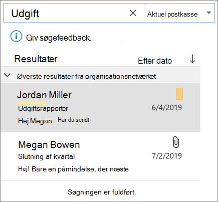 Brug af søgning til at finde din mail i Outlook