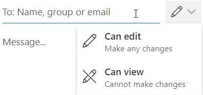 """Vælg blyantsikonet for at give modtagerne tilladelse til at """"redigere"""" eller """"skrivebeskyttet""""."""