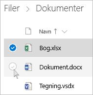 Skærmbillede af valg af en fil i OneDrive med listevisning