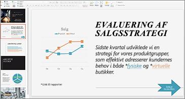 Præsentation med links, der er formateret med forskellige farver