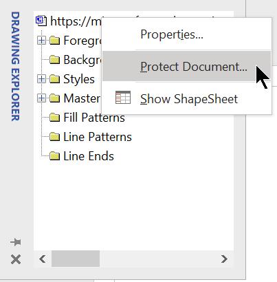 Vælg Beskyt dokument i Tegningsstifinder.