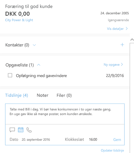 Tilføj en ny aktivitet i Outlook Customer Manager