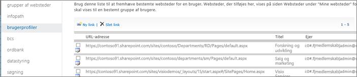 Skærmbillede af indstillinger for Administrer fremhævede websteder
