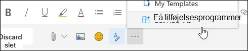 Et skærmbillede af knappen Hent tilføjelsesprogrammer