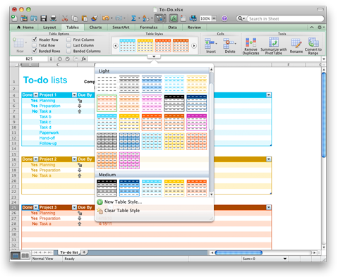 Excel-projektmappe med Indstillinger for tabeltypografi
