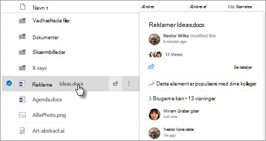 Skærmbillede af pegekortet fil, der vises, når du peger på en fil i OneDrive eller SharePoint