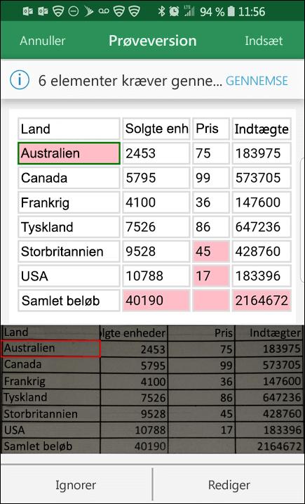 Excel importere data fra billede giver dig mulighed for at løse eventuelle problemer, der blev fundet, når du konverterer dine data.
