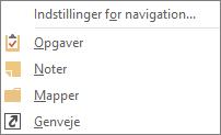 Vælg flere (tre prikker) på værktøjslinjen Hurtig adgang for at få vist indstillinger for navigation