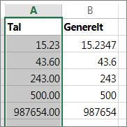 eksempel på hvordan tal vises med forskellige formater som Tal og Generelt.