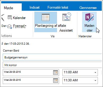 Skærmbillede af knappen OneNote-mødenoter i Outlook.
