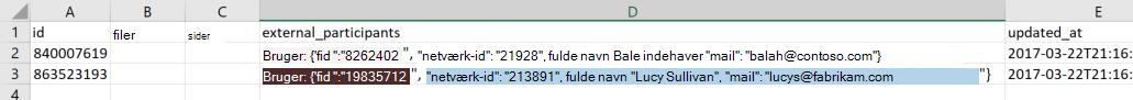 Skærmbillede af en eksempel-eksport-datafil