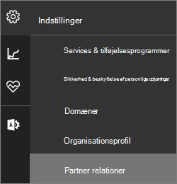 """Skærmbillede af menuen Indstillinger med """"Partner relationer"""" fremhævet"""
