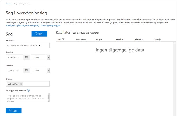 Office 365-aktivitetsrapport, der viser al aktivitet for en Extranet-partner