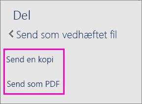 Billede af de to indstillinger i ruden Del ved afsendelse af et dokument som en kopi eller en PDF-fil