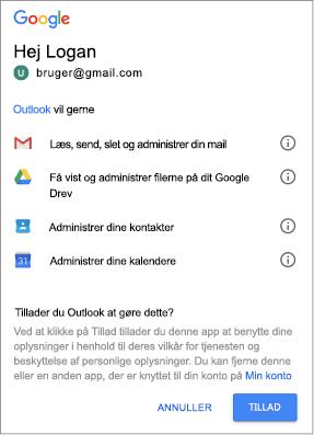Klik på Tillad for at give Outlook adgang til din Gmail meddelelser, filer, kontaktpersoner og kalendere