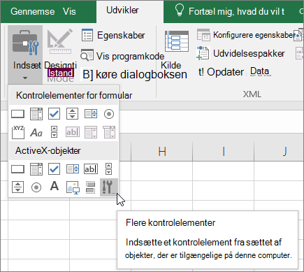 ActiveX-kontrolelementer på båndet