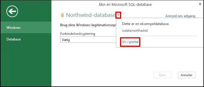 Få vist oplysninger om datakilden i portalen