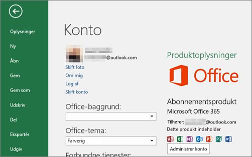 Den Microsoft-konto, der er knyttet til Office, vises i vinduet Konto i et Office-program