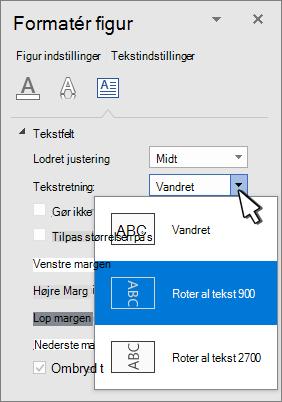 Panelet teksteffekter med tekstretning markeret