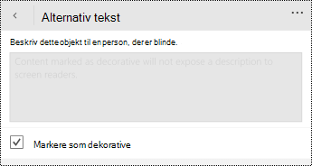 Indstillingen Marker som dekorativ er valgt i dialogboksen alternativ tekst til PowerPoint til Windows Phone.