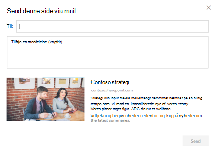 Dialogboksen Send via mail