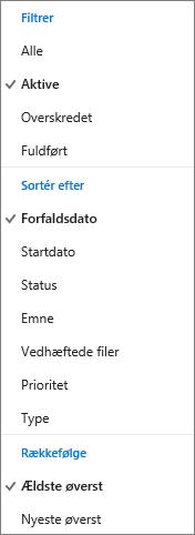 Vælg, hvordan du vil filtrere, sortere og rangordne opgaverne i opgavelisten i Outlook.com
