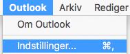 Viser indstillinger i Outlook