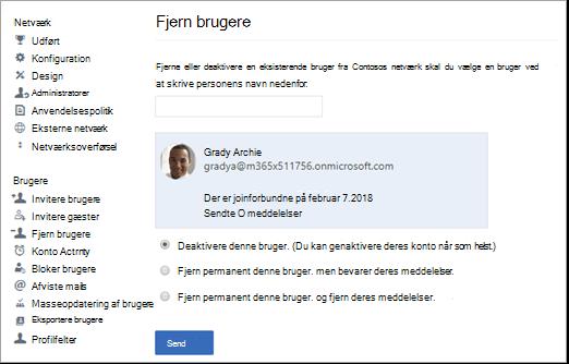 Skærmbillede af, hvordan du deaktiverer en bruger i Yammer