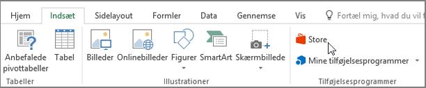 Skærmbillede af en del af fanen Indsæt på båndet i Excel med en markør, der peger på Store. Vælg Store for at gå til Office Store, og se efter tilføjelsesprogrammer til Excel.