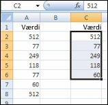 Entydige værdier fra område i kolonne A