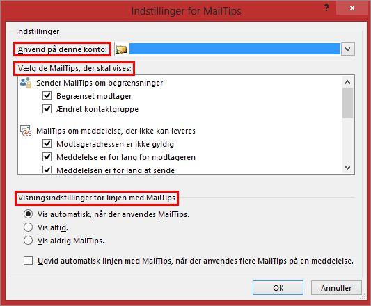 Indstillinger for Outlook Mailtip