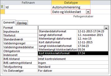 Egenskaben Format for et dato/klokkeslætsfelt