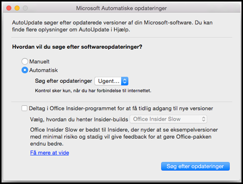 Automatiske opdateringer til Office til Mac