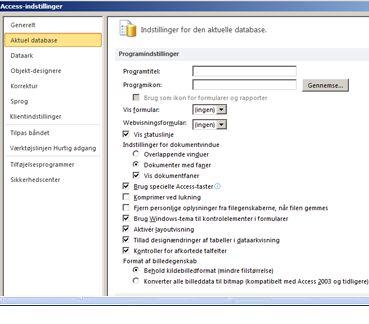 Dialogboksen Access-indstillinger med fokus på de aktuelle databaseindstillinger