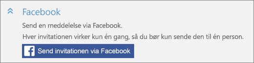 """Nærbillede af skærmbilledet med sektionen """"Facebook"""" i dialogboksen """"Tilføj en person"""" med knappen """"Send Invitation via Facebook""""."""