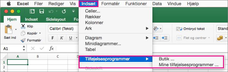 Viser Indsæt > Tilføjelsesprogrammers flow i Office 2016 til Mac.