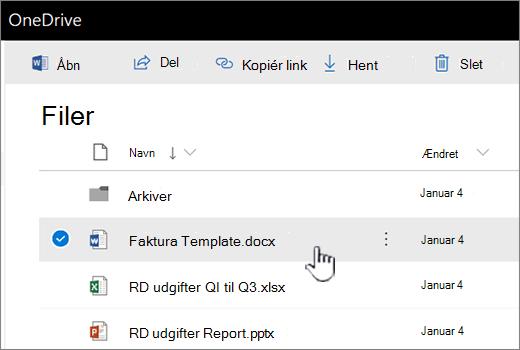 OneDrive med markeret fil