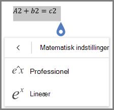 Viser matematisk ligning formater