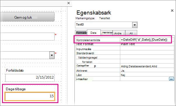 Indtastning af funktionen DateDiff i egenskaben Kontrolelementkilde for et tekstfelt.