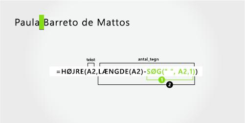 Formel til adskillelse af et fornavn og et efter navn i tre dele