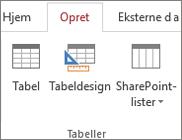 Access-kommando på båndet for Opret > Tabeldesign