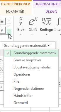 Klik på pilen for at se bestemte symboler på værktøjslinjen Ligning