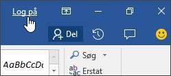 Skærmbillede, der viser link til at logge på i et Office-skrivebordsprogram