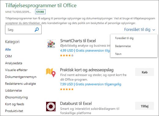 """Skærmbillede af sektionen store på siden Office-tilføjelsesprogrammer, hvor du kan søge efter et tilføjelsesprogram ved hjælp af dens klassificering, navn eller bruge indstillingen """"foreslået til dig"""". Du kan også bruge søgefeltet til at finde et tilføjelsesprogram."""
