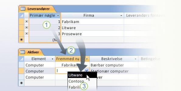 Primære og fremmede nøgler i en tabelstruktur